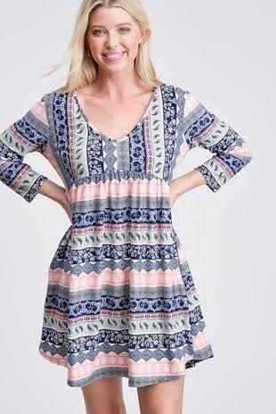 Multi Color Knit Dress with Side Pockets *Final Sale*