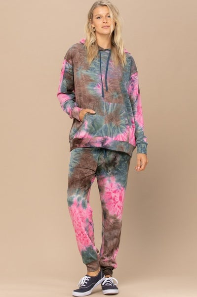 Teal and Brown Tie Dye Lounge Jogger Pants