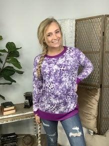 Purple Tie Dye with Animal Print Star Detail Weekender *Final Sale*