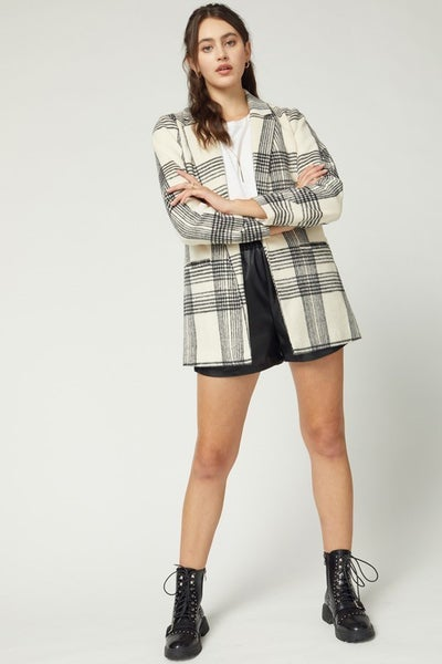 Cream Plaid Blazer Jacket