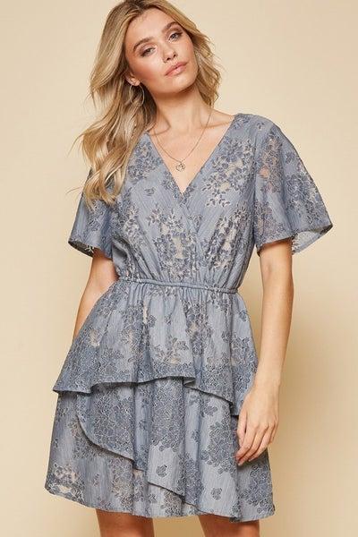 Slate Blue Flutter Sleeve Lace Dress *Final Sale*