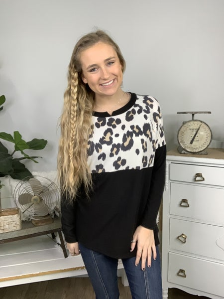 Black and White Leopard Contrast Top