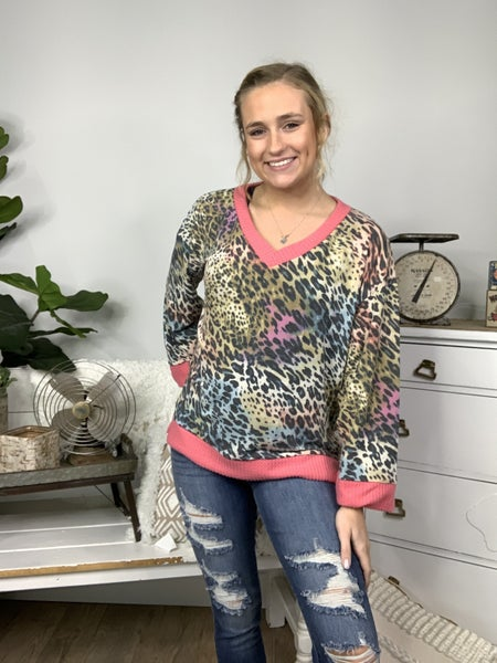 Coral Animal Print Top with Waffle Knit Coral Trim *Final Sale*