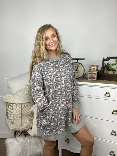 Heathr Grey Leopard Print Dress