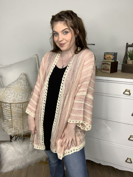 Grapefruit Honey Blend Pastel Striped Lightweight Cardigan *Final Sale*