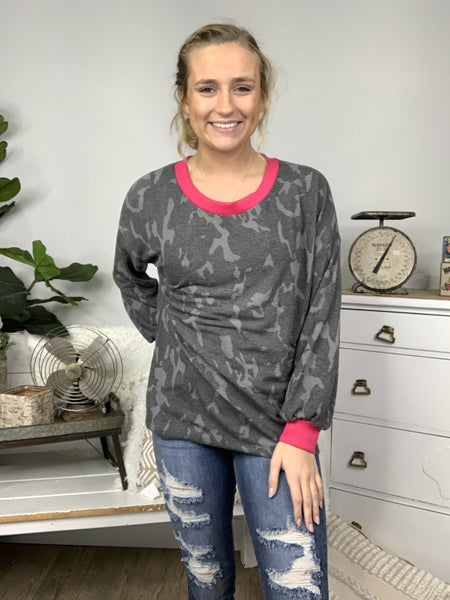 Charcoal Camo Top with Hot Pink Trim Detailing *Final Sale*