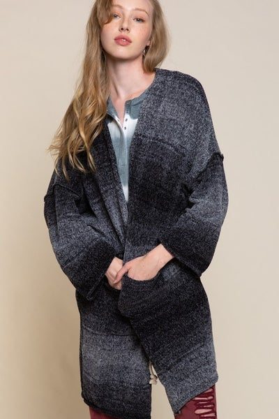 Charcoal Ombre Sweater Cardigan