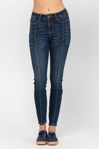 Dark Mid Seam Stitch Skinny Jean