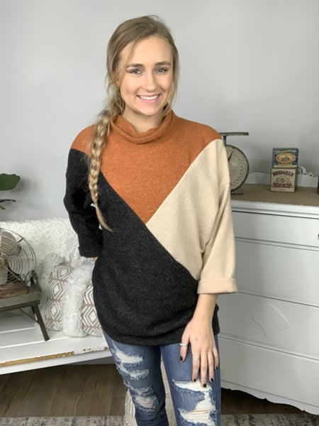 Black Multi Color Blocked High Neck Wide Long Sleeve Top
