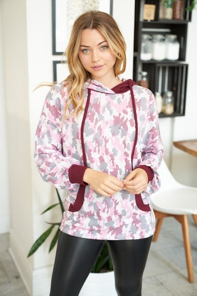 Pink and Grey Hoodie with Burgundy Detail *Final Sale*