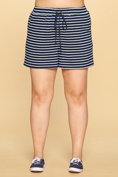 Navy and White Striped Elastic Band Shorts with Drawstring Waist