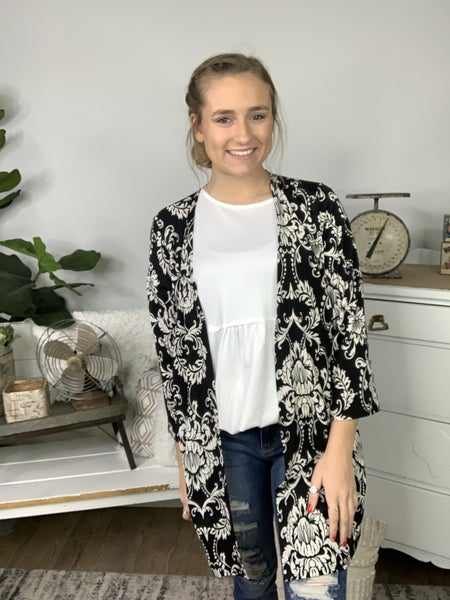 Black and Ivory Damask Print Cardigan