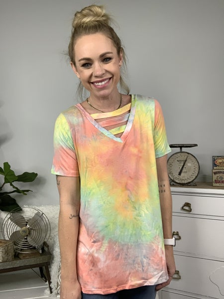 Coral Tie Dye Top with V-Neck Cut Out Detail *Final Sale*