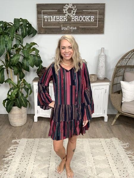 Magenta Bell Sleeve Printed Dress