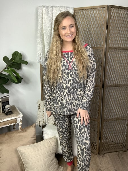 Grey Animal Print and Hot Pink Detail Lounge Pants *Final Sale*