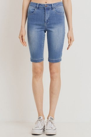 Denim Mid Rise Biker Shorts