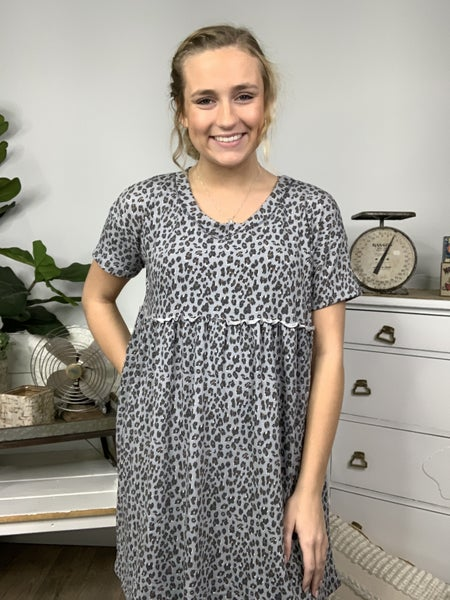 Grey Short Sleeve Cheetah Print Dress *Final Sale*