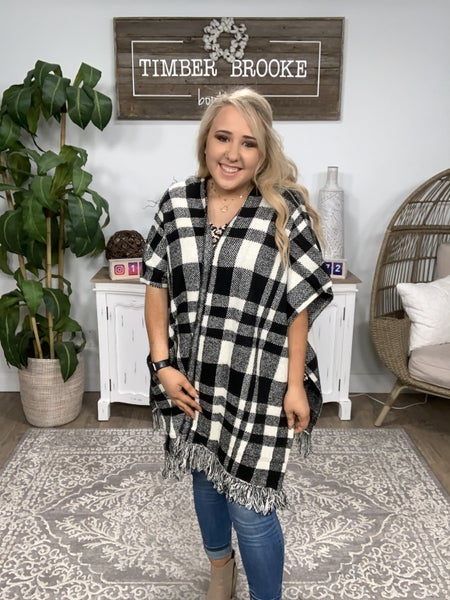 White and Black Plaid Sweater Poncho