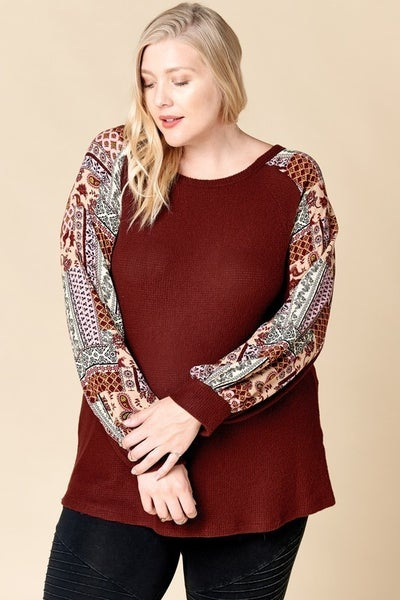 Wine Boat Neck Top with Patchwork Raglan Sleeve