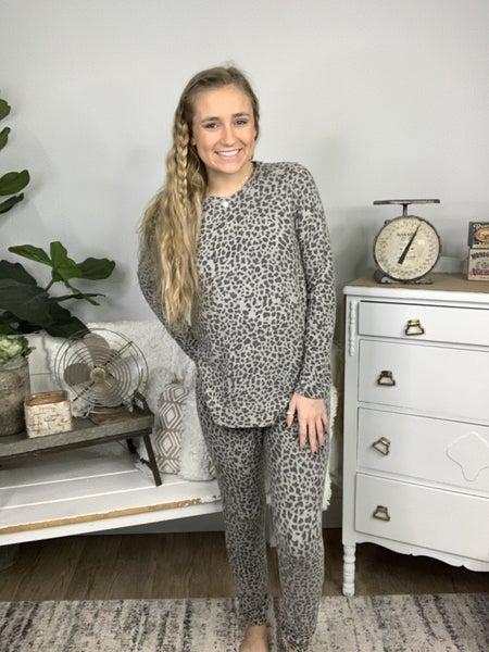 Dark Brown and Heather Grey Leopard Fleeced Lounge Pants *Final Sale*