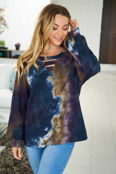 Navy and Purple Tie Dye with Ladder Detail Top *Final Sale*