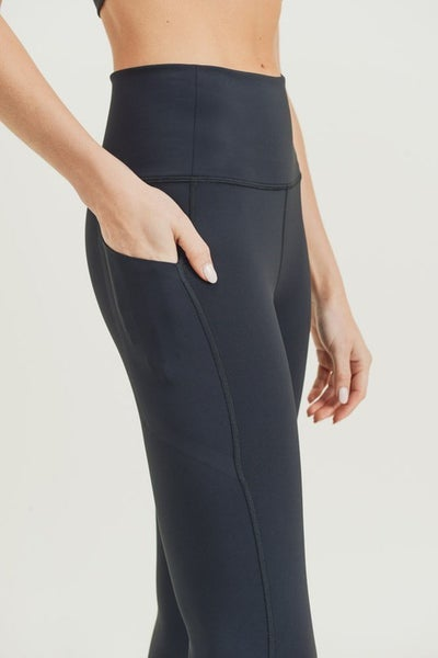 Black Laser Cut Foldover Highwaist Leggings