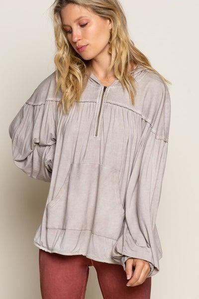 Taupe Lightweight Kangaroo Pocket Hoodie Sweatshirt