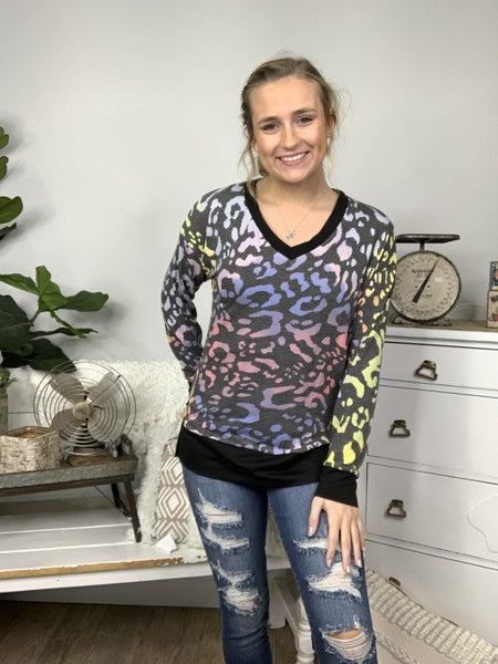 Rainbow Leopard Print Top with Solid Black Trim Detailing *Final Sale*