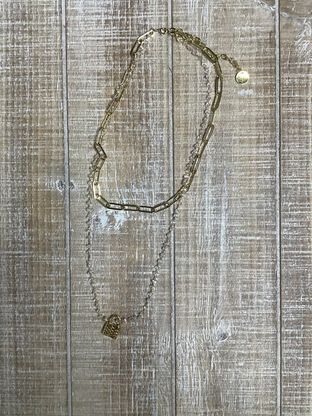 Double Drop Barrel Chain and Clear Beaded Chain with Lock Accent *Final Sale*