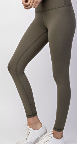 Olive Full Length Wide Waist Band Yoga Stitch Legging