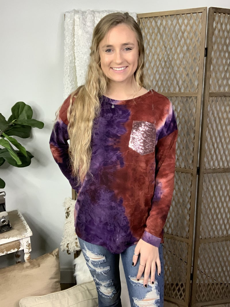 Purple and Burgundy Tie Dye with Glitter Pocket Top *Final Sale*