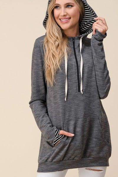 Charcoal and Black Stripe Printed Hoodie with Kangaroo Pocket