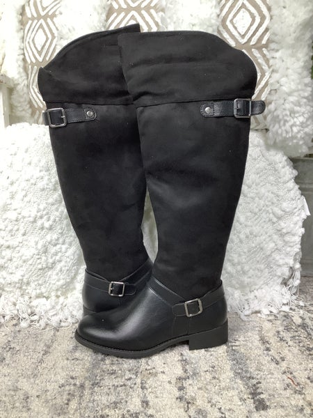 Black Suede Buckle Detailed Over the Knee Boot *Final Sale*