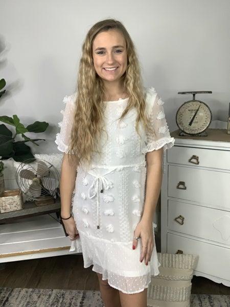 Ivory Dress with Pom Poms