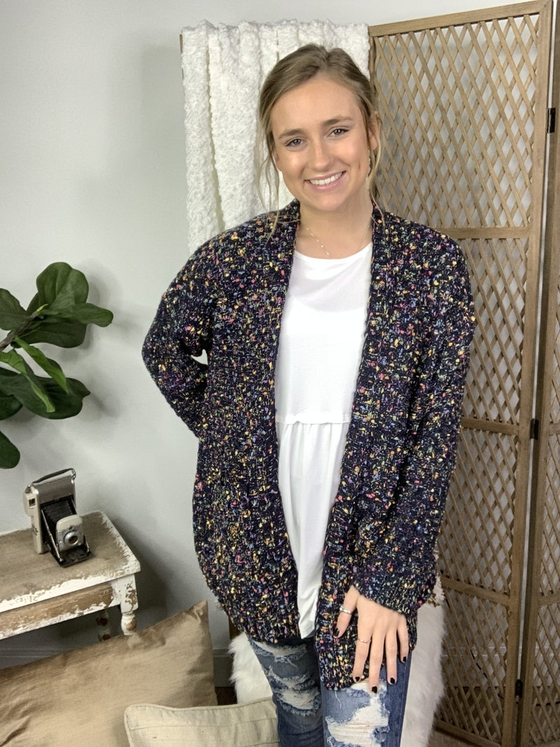Navy Multi Dotted Sweater Cardigan