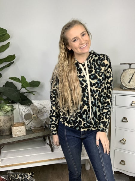 Taupe and Teal Long Sleeve Leopard Print Hoodie *Final Sale*