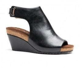 Black Smooth Platform Wedge