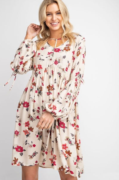 Natural and Floral Baby Doll Dress