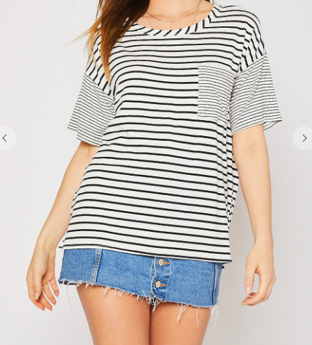 Ivory And Black Round Neck Top
