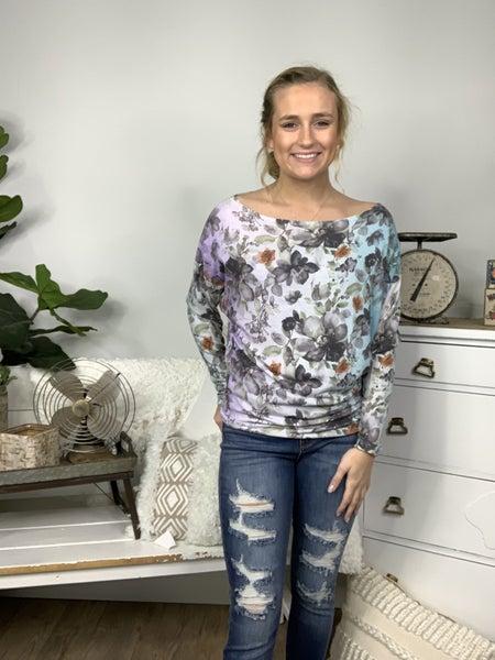 Aqua and Lavender Floral Dolman Sleeve Top *Final Sale*