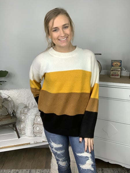 Mustard Combo Color Blocked Sweater