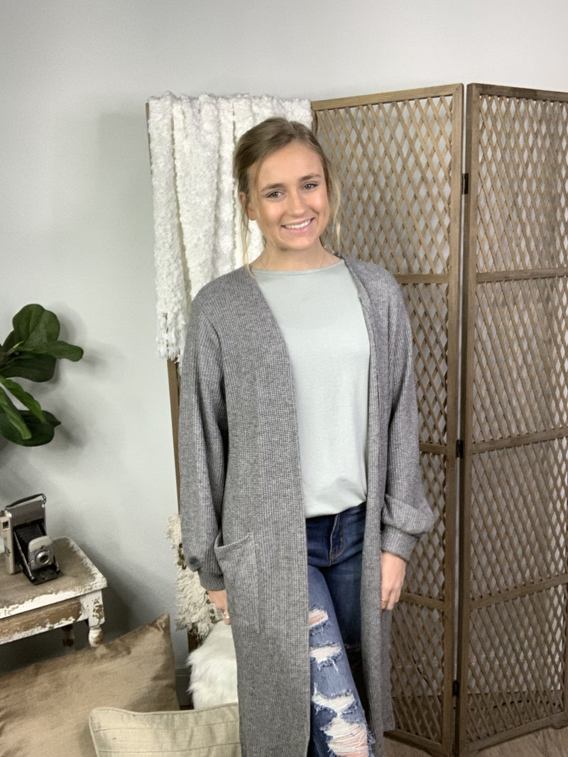Heather Grey Cardigan with Pocket