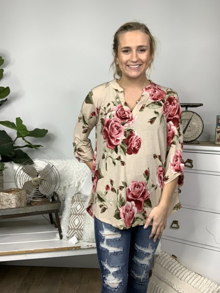 Taupe Floral Gabby Style Top *Final Sale*