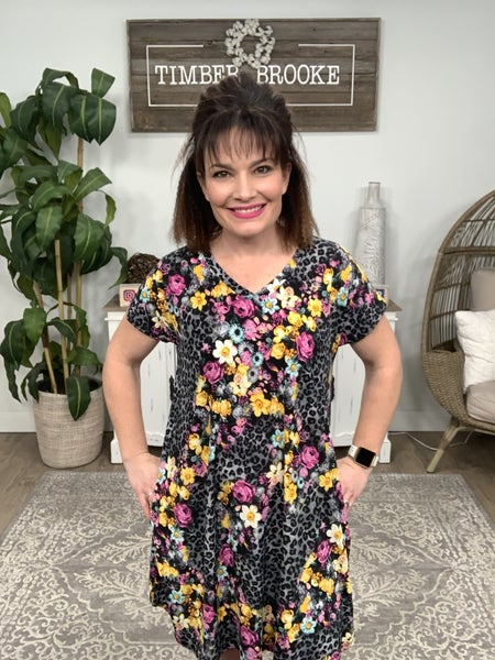 Purple Grey Leopard Dress
