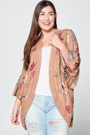 Brown Floral Printed Kimono with Lace Edging