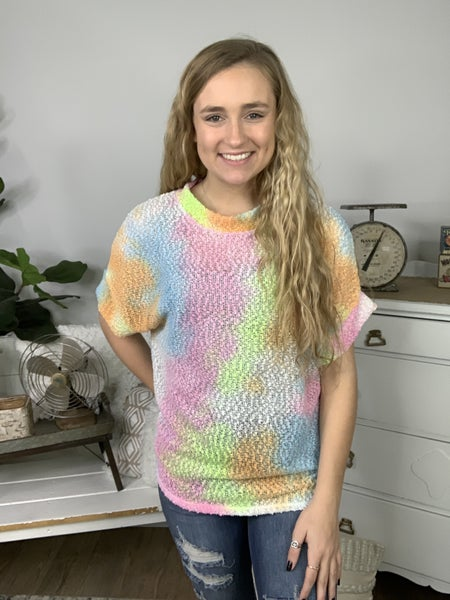 Lime and Pink Tie Dye Short Sleeve Top