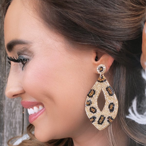 Animal Print Beaded Earrings *Final Sale*