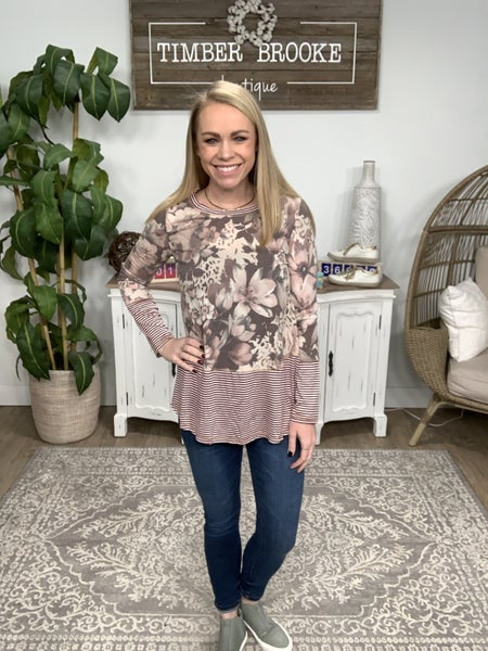 Floral Long Sleeve With Stripes