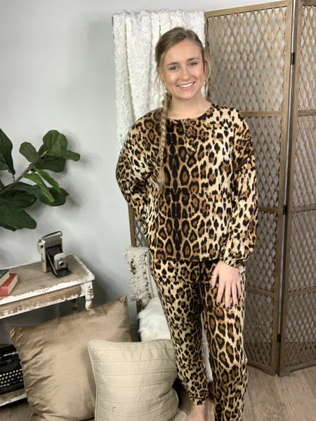 Leopard Print Lounge Jogger Pants