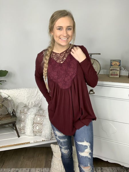 Burgundy Crochet Lace Patch Detail Long Sleeve Top